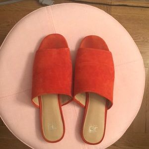Red suede slide sandals